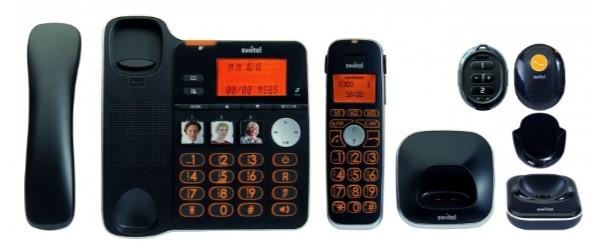 SWITEL D300 téléphone sans-fil et base et boitier alerte