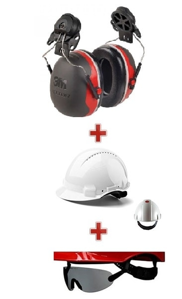 casque de chantier avec lunette et protection auditive